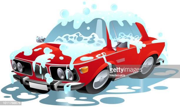 illustrations, cliparts, dessins animés et icônes de lavage de voiture cartoon symbole vecteur - station de lavage auto