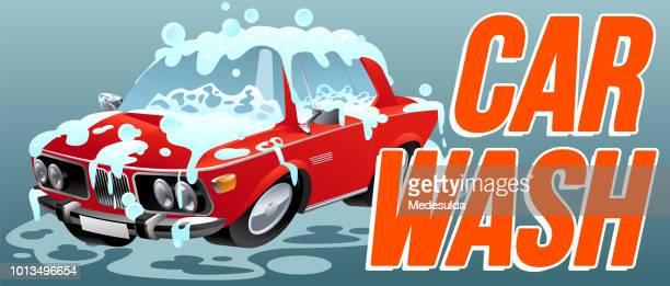 illustrations, cliparts, dessins animés et icônes de lavage de voiture propre vecteur symbole - station de lavage auto