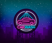 Car wash  design emblem in neon style illustration. Template, concept, luminous sign on the theme of washing cars. Advertising Billboard