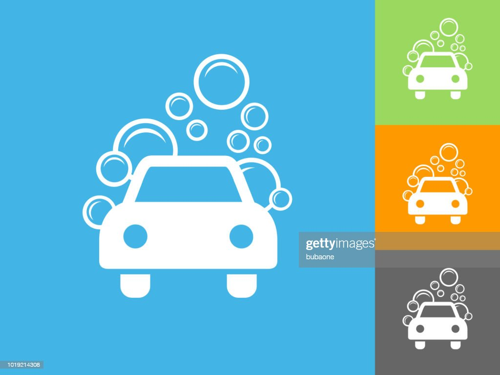 Car Wash Flat Icon On Blue Background Stock Illustration Getty Images