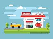Car wash flat illustration