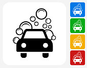 Car Wash Icon Flat Graphic Design