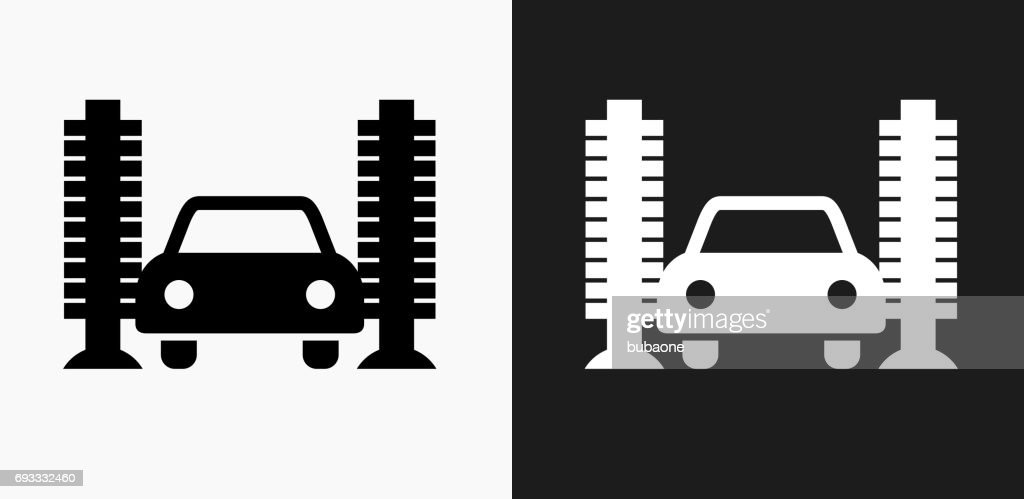 Car Wash Icon on Black and White Vector Backgrounds