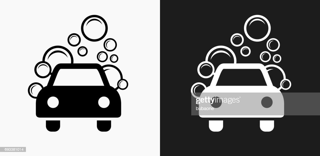 Car Wash Icon On Black And White Vector Backgrounds Stock