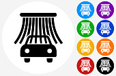 Car Wash Icon on Flat Color Circle Buttons