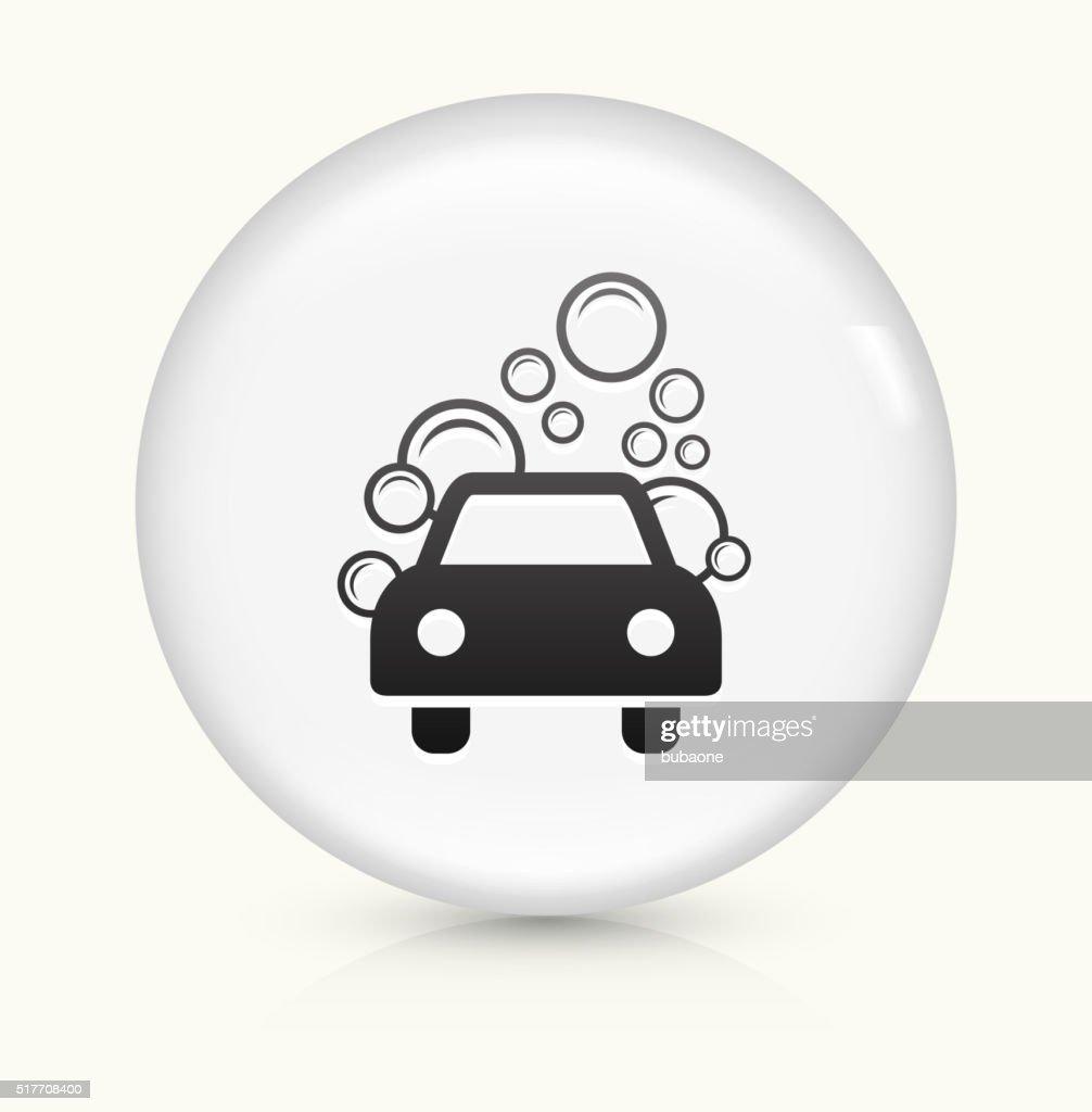 Car Wash icon on white round vector button