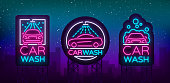 Car wash icon,   set vector design in neon style vector illustration isolated. Template, concept, luminous signboard icon on a car wash theme. Luminous banner