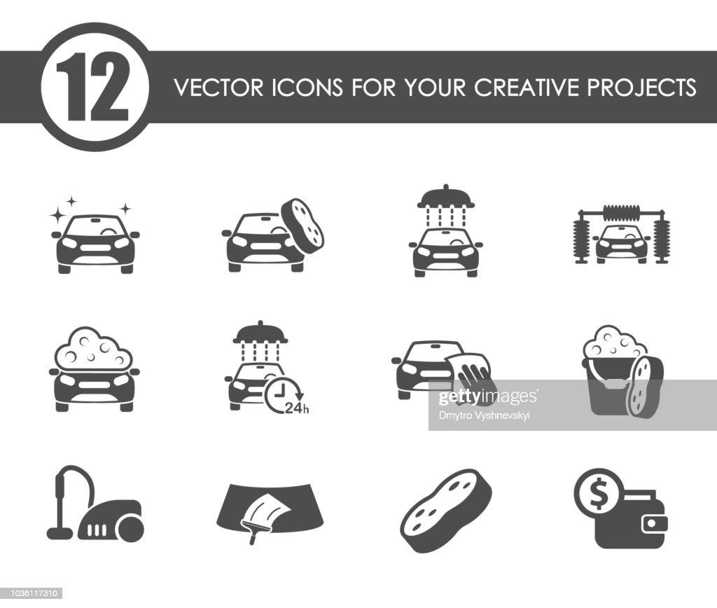 car wash icon set