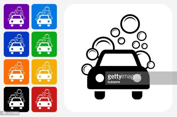illustrations, cliparts, dessins animés et icônes de car wash icône carrée bouton set - station de lavage auto