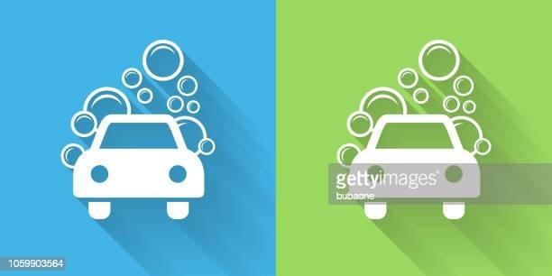 illustrations, cliparts, dessins animés et icônes de icône de lave-auto avec ombre portée - station de lavage auto