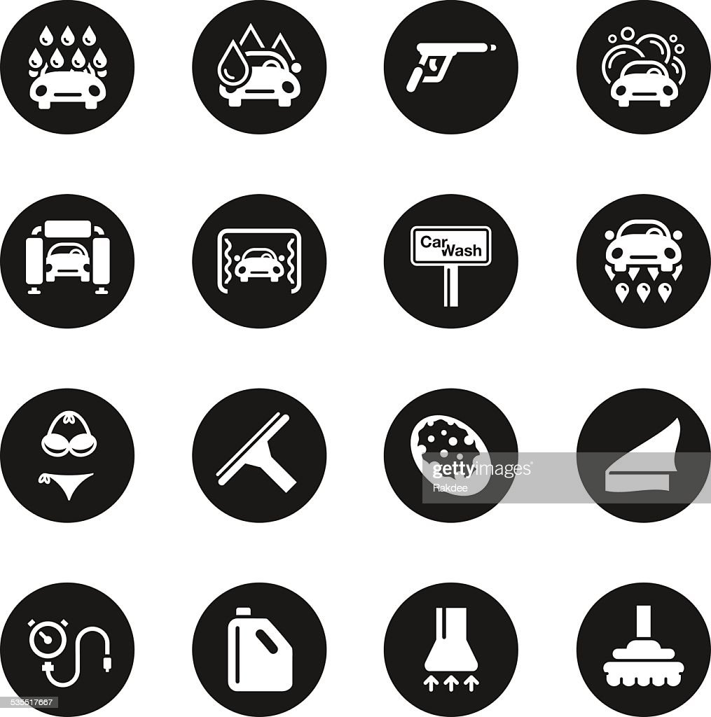 Car wash icons black circle series vector art getty images for Black circle vector