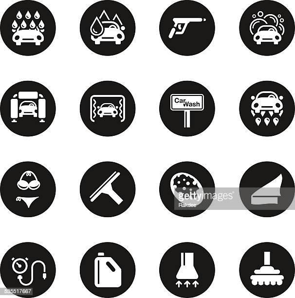 De lavage de voiture icônes-cercle noir Series