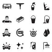 Car Wash Icons. Black Flat Design. Vector Illustration.