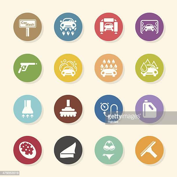 illustrations, cliparts, dessins animés et icônes de lavage de voiture icônes-série couleur circle - station de lavage auto