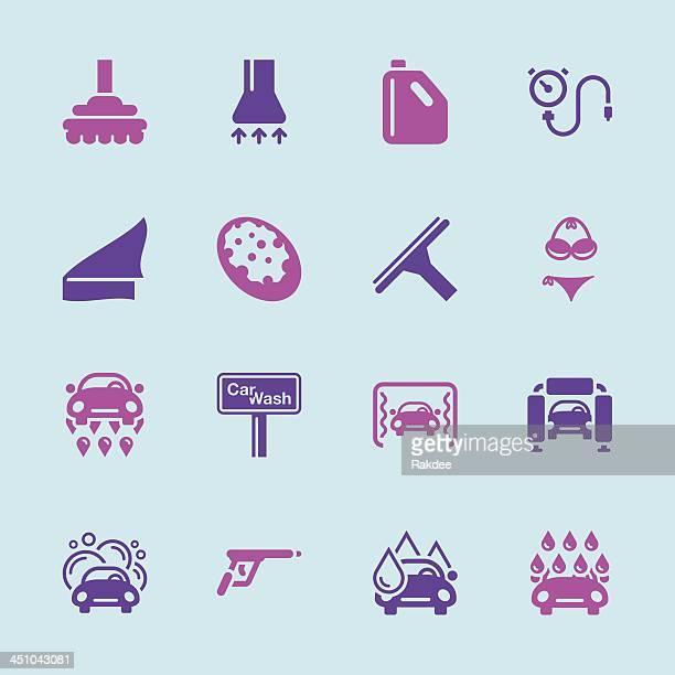 illustrations, cliparts, dessins animés et icônes de icônes de lavage de voiture-série couleur/eps10 - station de lavage auto