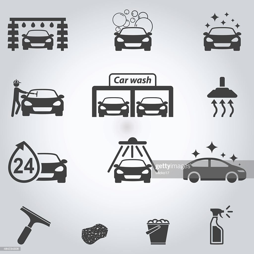 Car wash icons set