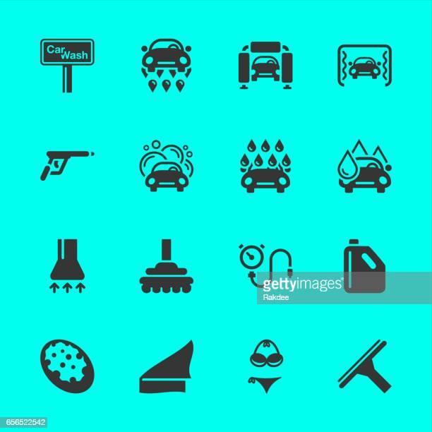 illustrations, cliparts, dessins animés et icônes de icônes de lavage de voiture - station de lavage auto