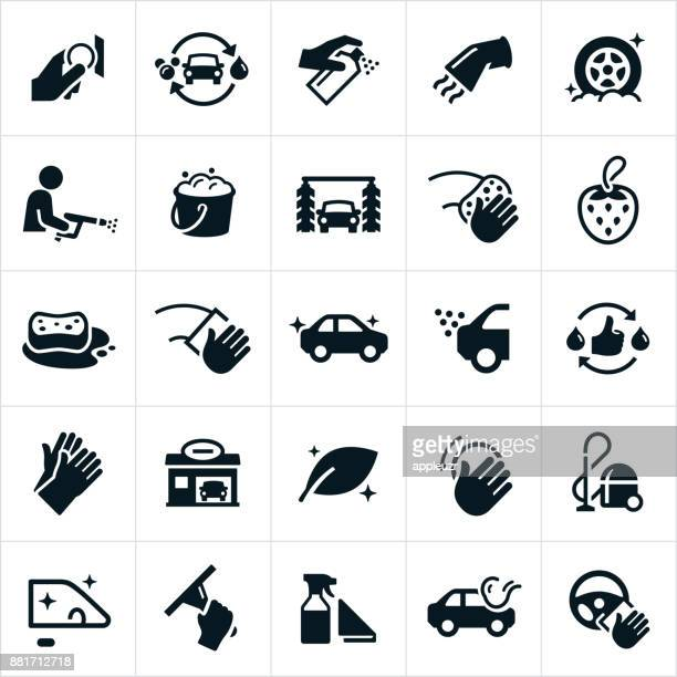 car wash icons - washing up glove stock illustrations, clip art, cartoons, & icons