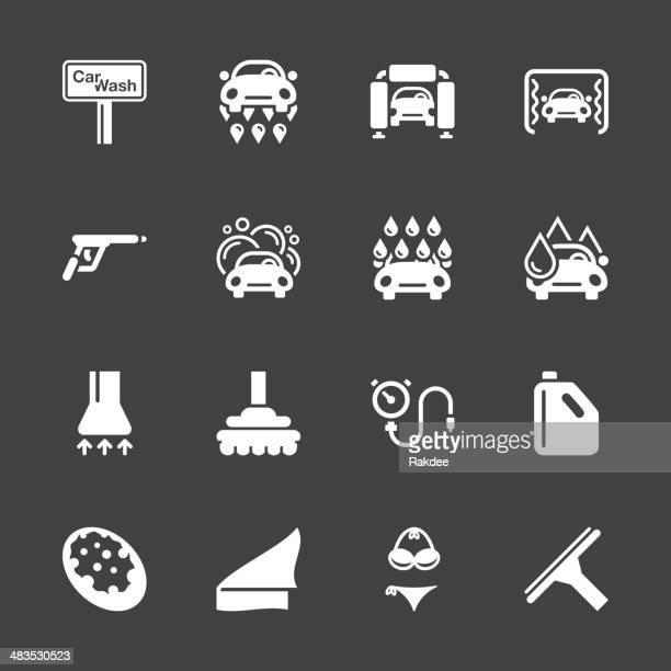 car wash icons - white series | eps10 - car wash brush stock illustrations