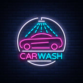 Car wash logo design emblem in neon style vector illustration. Template, concept, luminous sign on the theme of washing cars