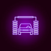 car wash machine outline icon in neon style. Elements of car repair illustration in neon style icon. Signs and symbols can be used for web, logo, mobile app, UI, UX