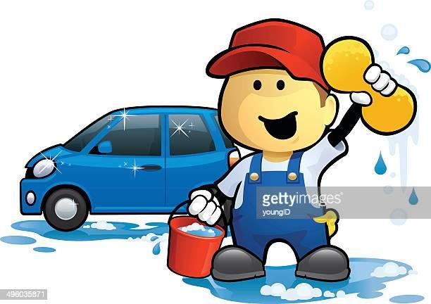 ilustrações, clipart, desenhos animados e ícones de car wash homem - lava