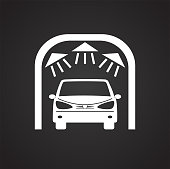Car wash on black background for graphic and web design, Modern simple vector sign. Internet concept. Trendy symbol for website design web button or mobile app.