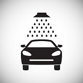 Car wash on white background for web or app using