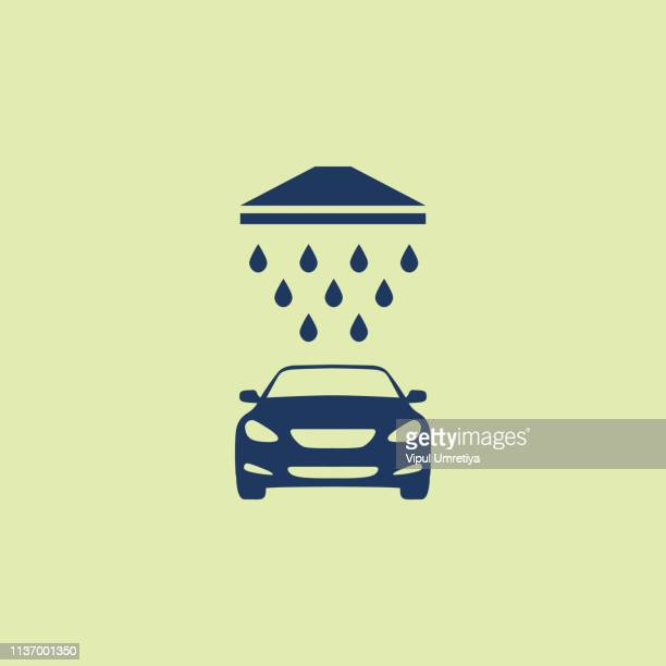 illustrations, cliparts, dessins animés et icônes de icône d'illustration de lavage de voiture premium - station de lavage auto