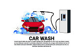 Car Wash Service Banner With Cleaning Vehicle Over Copy Space Background
