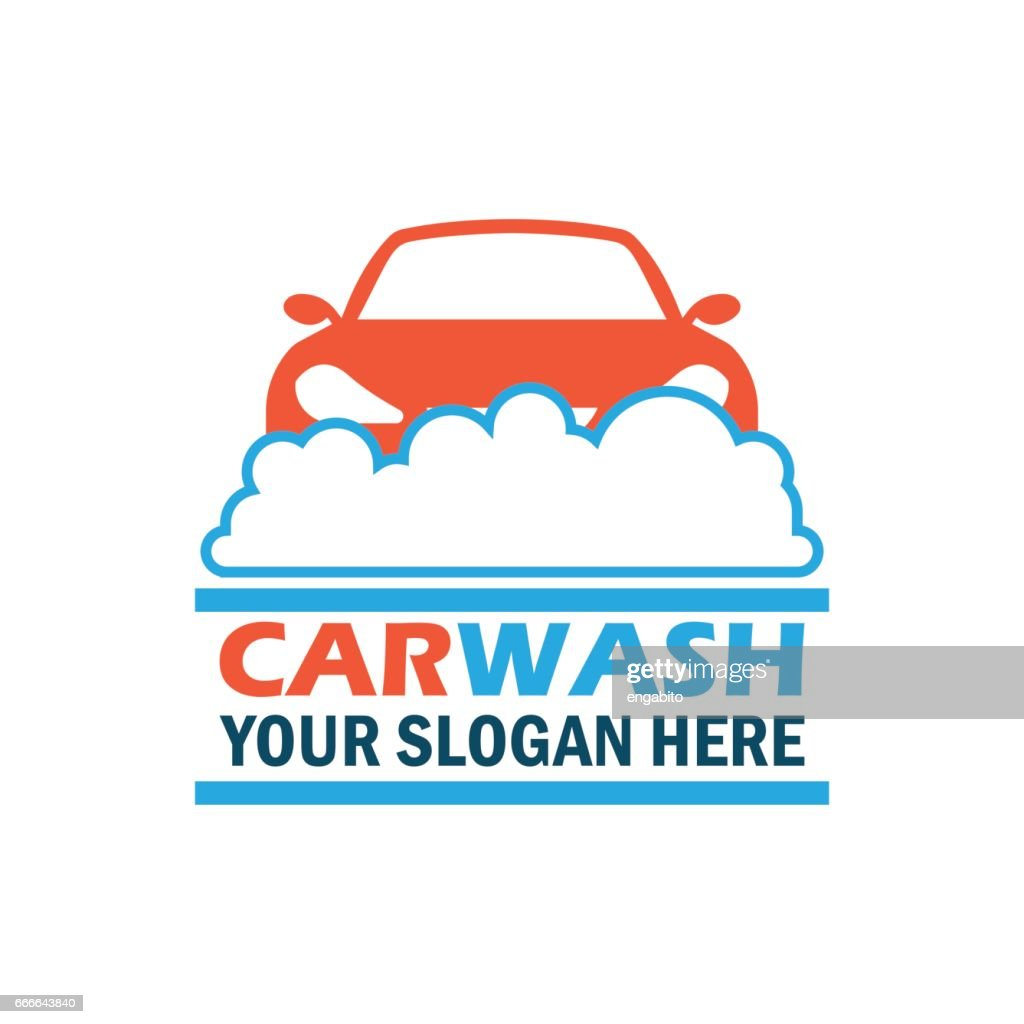 car wash service icon with text space for your slogan / tagline, vector illustration