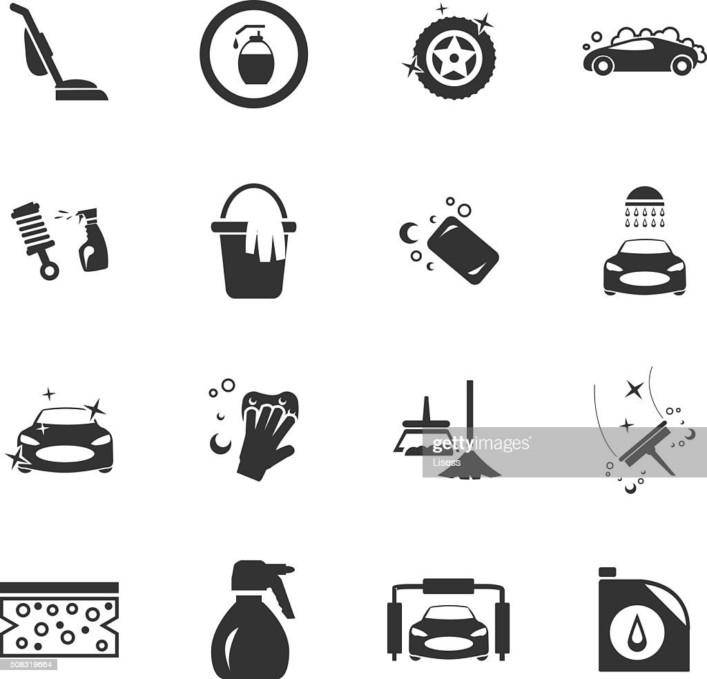 Car wash shower service icons set