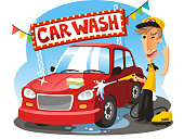 Car Wash Sign with boy washing vehicle