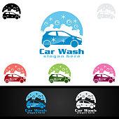 Car Wash Symbol, Cleaning Car, Washing and Service Vector Symbol Design
