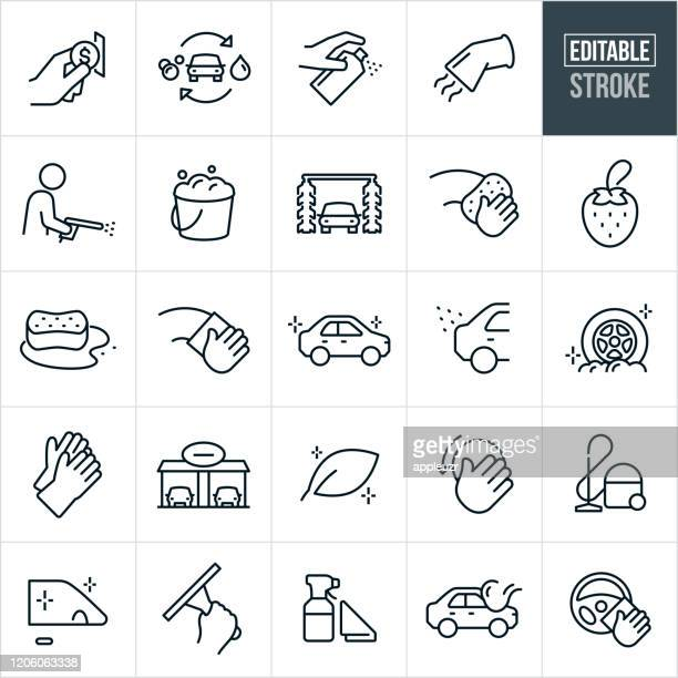 car wash thin line icons - editable stroke - clean stock illustrations