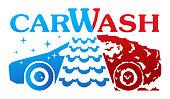 Car Wash vector logo on white background.