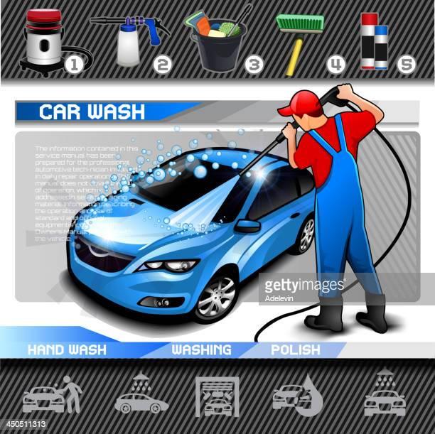 ilustrações, clipart, desenhos animados e ícones de lavagem de carro vetor definido - lava