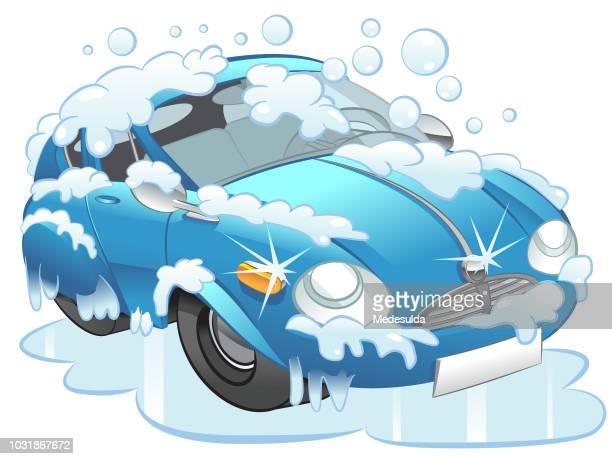 illustrations, cliparts, dessins animés et icônes de lave-auto véhicule cartoon vector - station de lavage auto