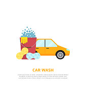 Car wash web illustration in flat style