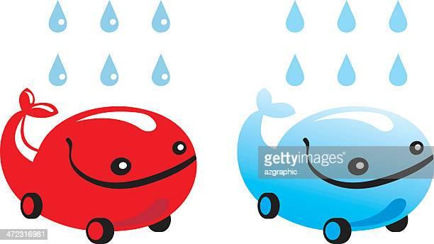 car wash, whale-car illustration - blue whale stock illustrations, clip art, cartoons, & icons