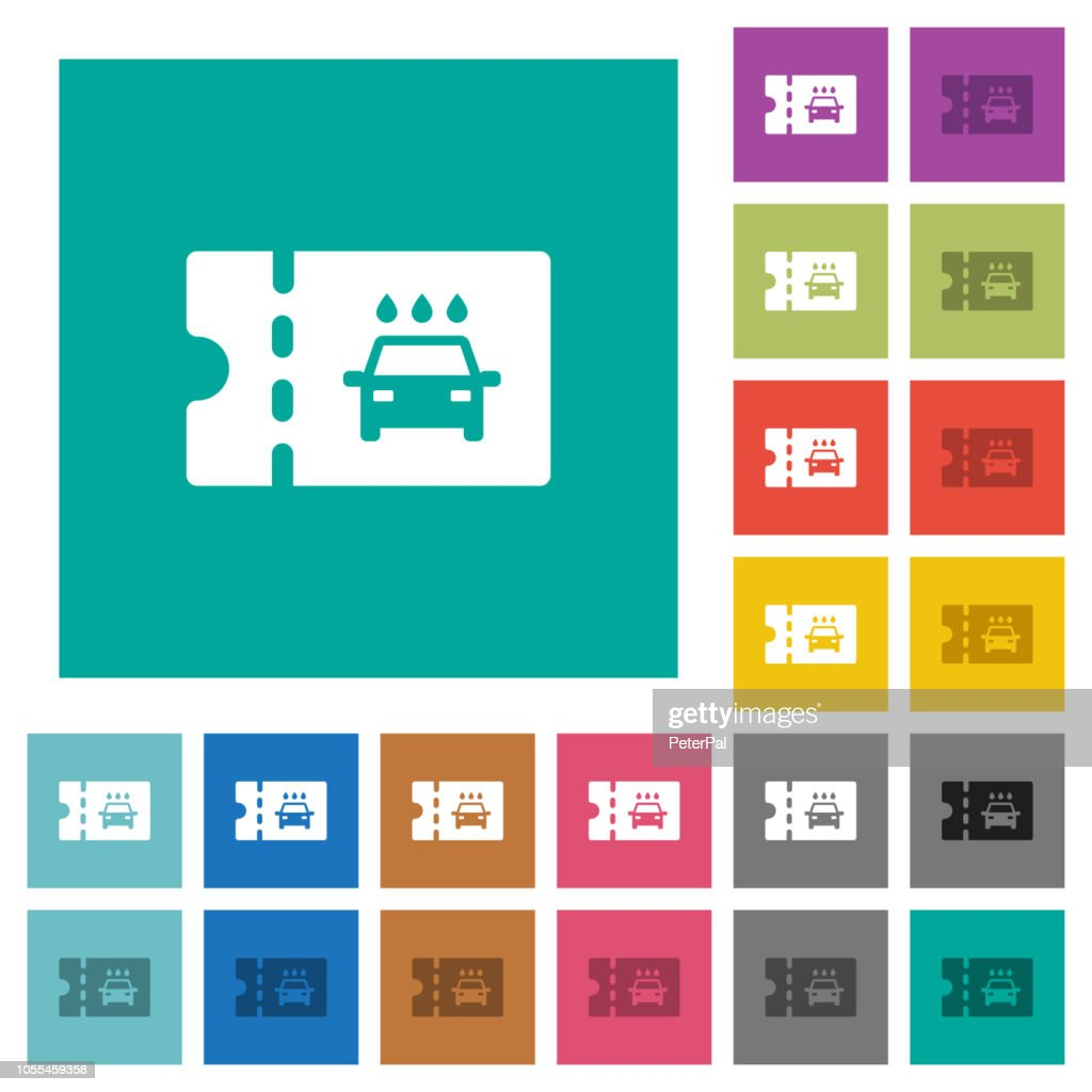 car washer discount coupon square flat multi colored icons