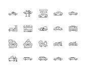 Car washing line icons, signs, vector set, outline illustration concept