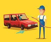 Car washing service. Vector cartoon illustration