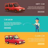 Car washing service. Vector cartoon illustration