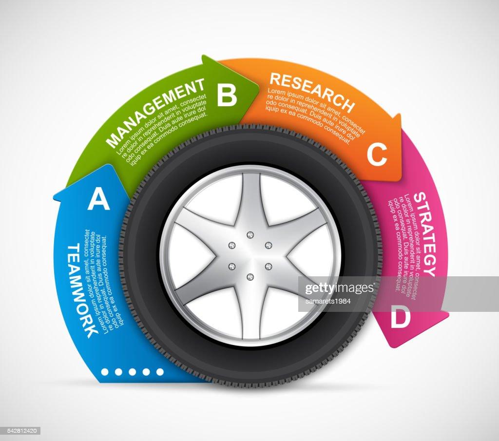 Car Wheel Infographic Design Template.