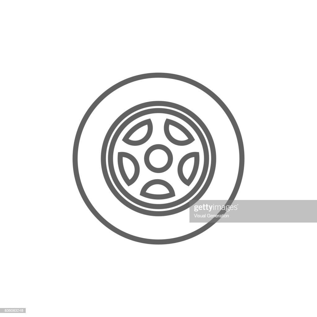 Car wheel line icon