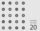Car wheel set of flat icons. Vector illustration
