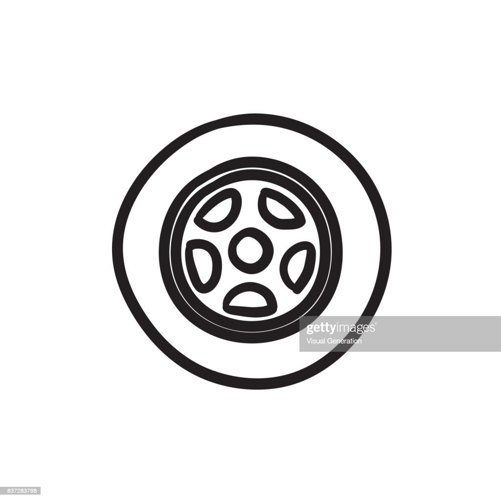 Car wheel sketch icon
