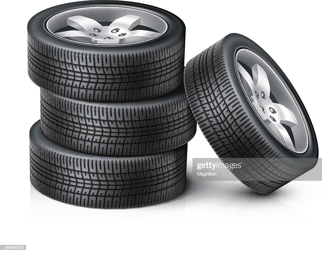 3 Car wheels stacked on top of each other with another wheel : stock illustration