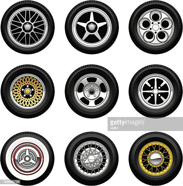 car wheels - tire vehicle part stock illustrations, clip art, cartoons, & icons